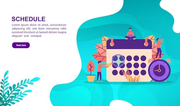 Pianificare il concetto di illustrazione con carattere. modello di pagina di destinazione Vettore Premium