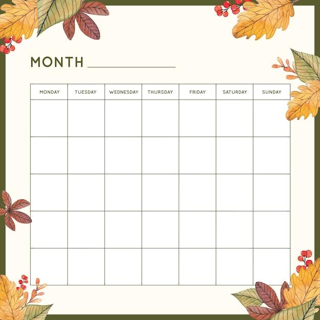 Pianificatore mensile con foglie d'autunno Vettore Premium