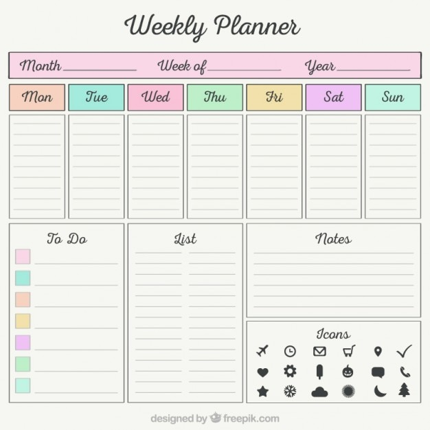 Pianificatore settimanale con elements organizer for Pianificatore di blueprint gratuito