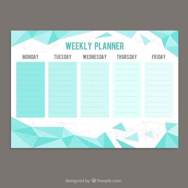 Pianificatore settimanale con forme geometriche for Pianificatore di blueprint gratuito