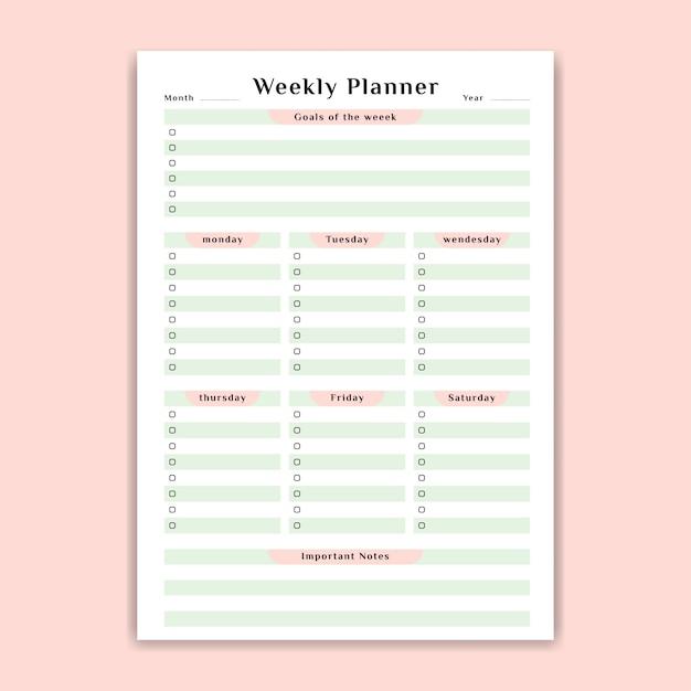 Pianificatore settimanale con lista delle cose da fare Vettore Premium