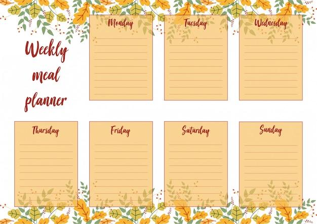 Pianificatore settimanale del pasto con la priorità bassa dei fogli di autunno Vettore Premium