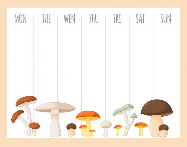 Pianificatore settimanale per bambini con funghi, grafica Vettore Premium