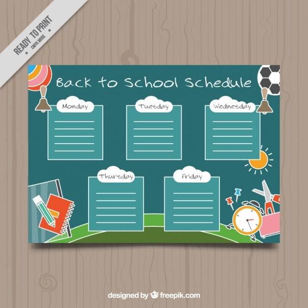 Pianificatore settimanale per tornare a scuola Vettore gratuito