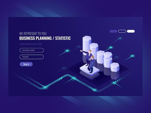 Pianificazione aziendale, statistica, illustrazione con due uomini d'affari Vettore gratuito