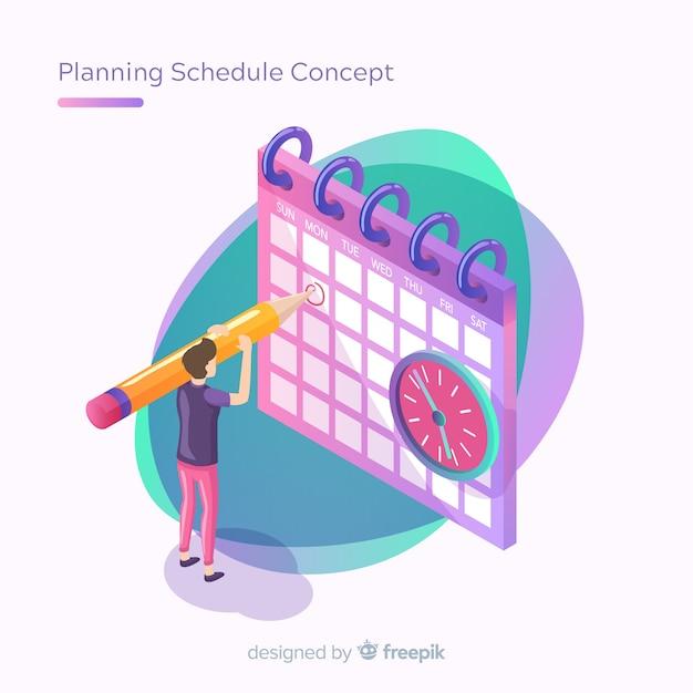 Pianificazione concetto di pianificazione con prospettiva isometrica Vettore gratuito