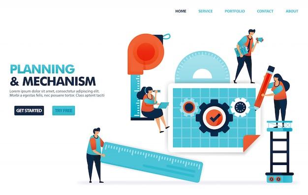Pianificazione di un meccanismo nel progetto di business, progettazione del concetto di costruzione di società con procedure operative standard. Vettore Premium