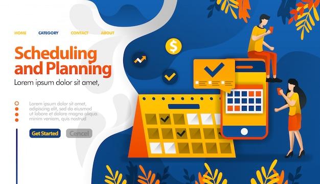 Pianificazione e pianificazione di app, pianificazione di viaggi, determinazione di riunioni e attività Vettore Premium