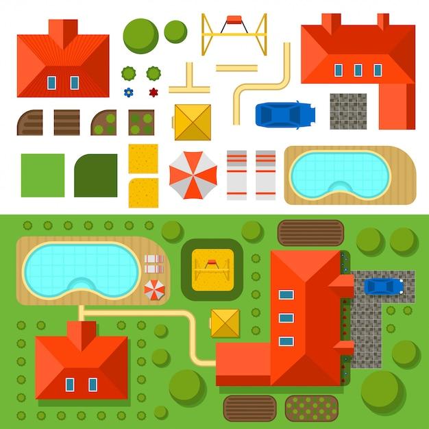 Piano della casa privata con giardino, piscina e illustrazione vettoriale auto Vettore Premium