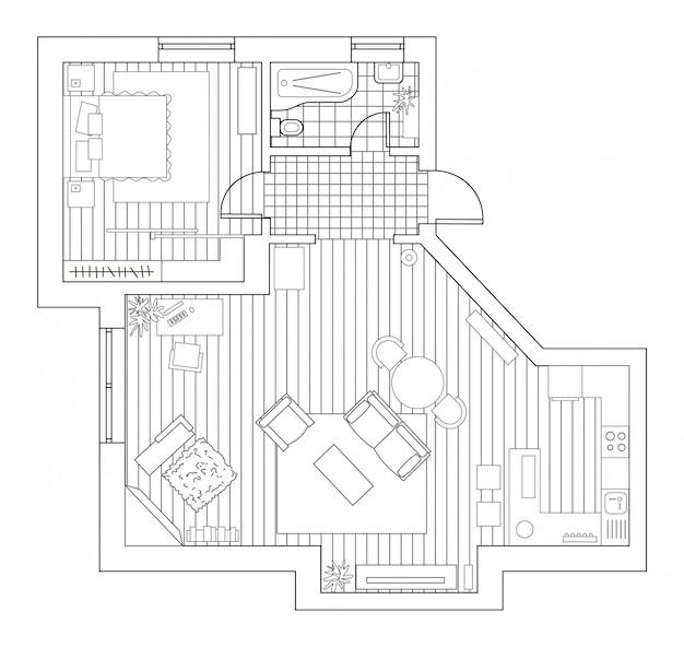 Piano di architettura con mobili in vista dall'alto. libro da colorare. Vettore Premium