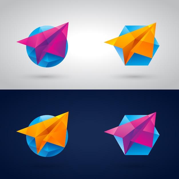 Piano di carta poligonale Vettore Premium