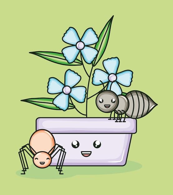 Pianta da giardino in vaso con stile kawaii di formica Vettore Premium