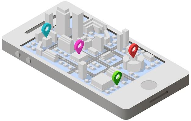 Pianta della città isometrica su smartphone Vettore Premium