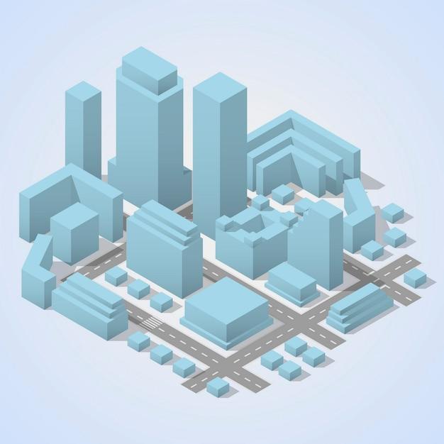 Pianta della città isometrica Vettore Premium