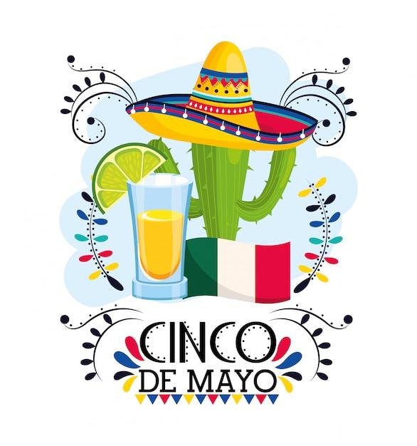 Pianta di cactus con cappello all'evento messicano Vettore Premium