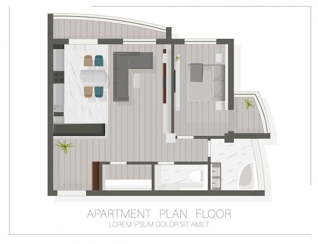 Pianta moderna dell'appartamento con vista dall'alto. schizzo di una casa Vettore gratuito