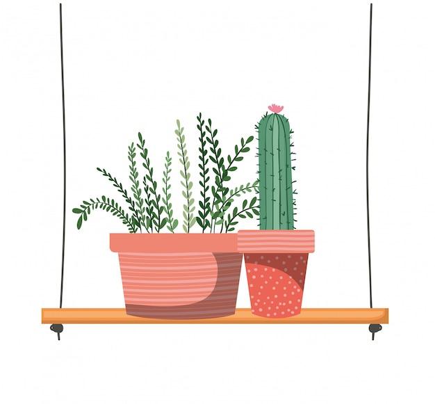 Piante d'appartamento con vaso su mensola Vettore Premium