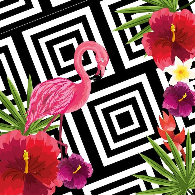 Piante di bellezza e fiori carini con sfondo di fenicottero Vettore Premium