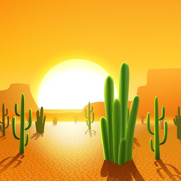 Piante di cactus nel deserto Vettore gratuito