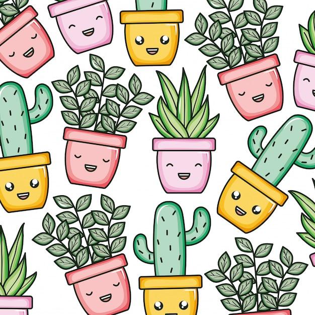 Piante domestiche e modello di personaggi kawaii cactus Vettore Premium