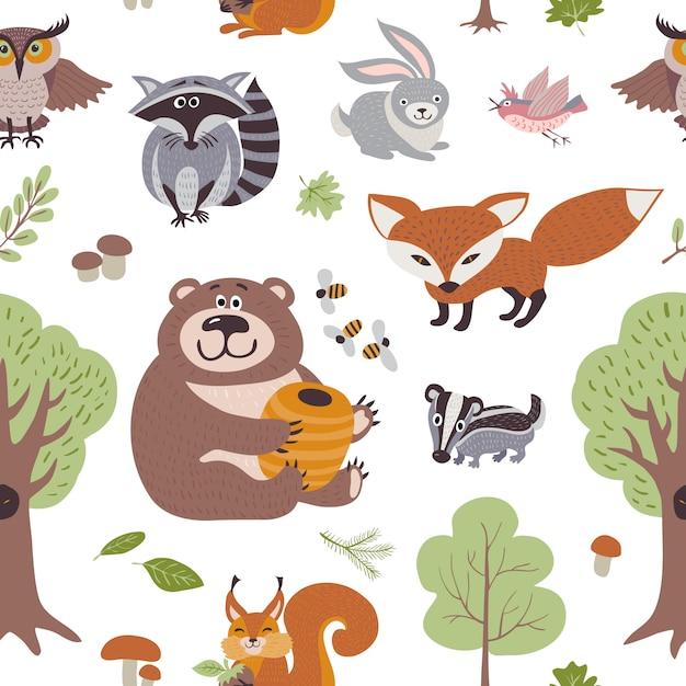 Piante estive della foresta e modello senza cuciture degli animali del terreno boscoso Vettore Premium