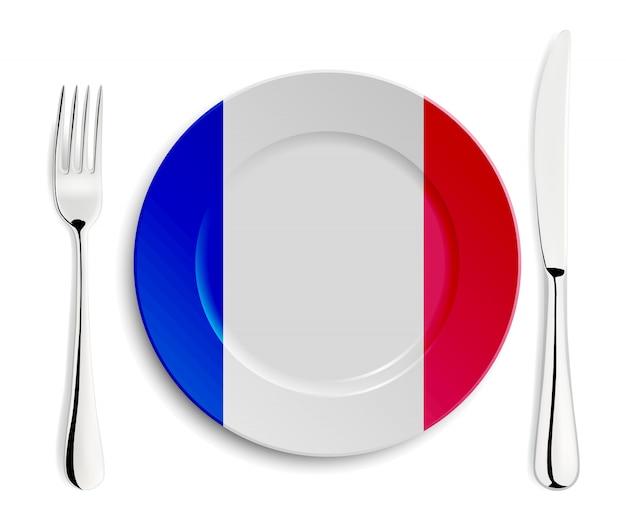 Piastra con bandiera della francia Vettore Premium