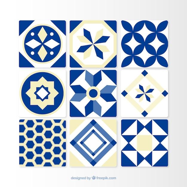Piastrelle blu ornamentali Vettore gratuito