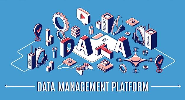 Piattaforma di gestione dei dati, banner infografica isometrica dmp, statistiche di finanza analitica aziendale Vettore gratuito