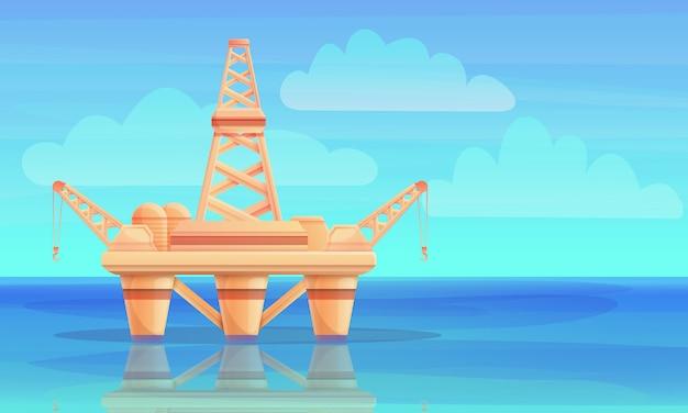 Piattaforma di produzione del fumetto nell'oceano, illustrazione di vettore Vettore Premium