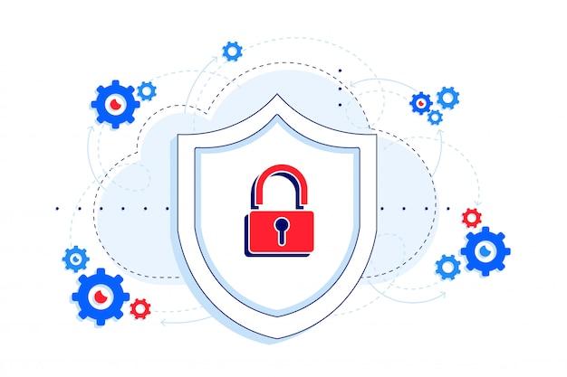Piattaforma sicura con l'illustrazione dell'api downtime protection. proteggi e blocca il concetto di sicurezza. saas. Vettore Premium