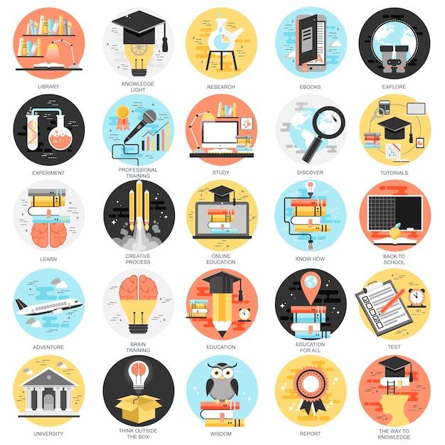 Piatte icone concettuali impostano la formazione online, video tutorial, formazione del personale, apprendimento. Vettore Premium