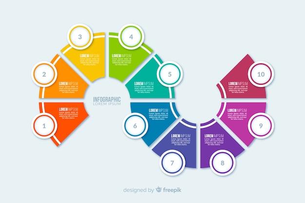 Piatti passaggi infografica colorati Vettore gratuito