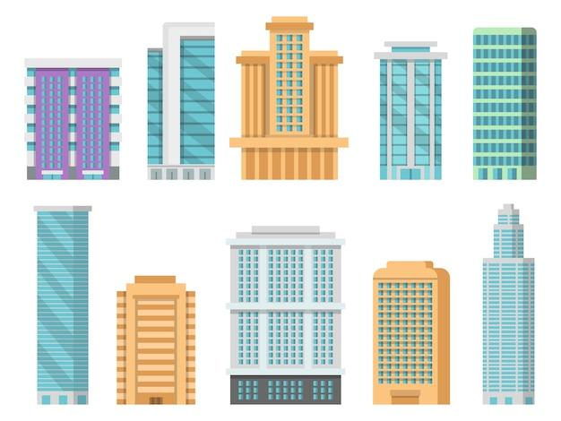 Piatti vari grattacieli moderni e altri edifici commerciali Vettore Premium