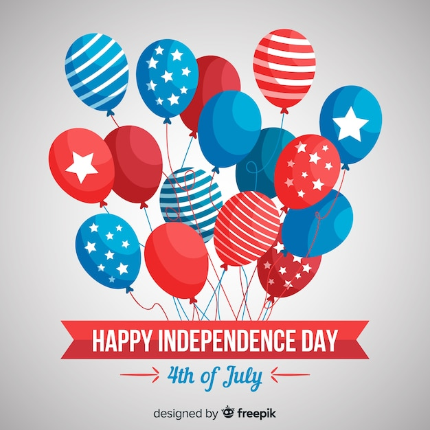 Piatto 4 luglio - sfondo del giorno dell'indipendenza con palloncini Vettore gratuito