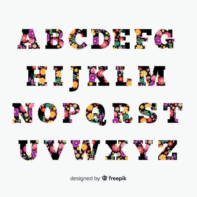 Piatto alfabeto floreale Vettore gratuito