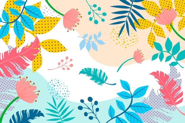 Piatto astratto sfondo floreale Vettore gratuito
