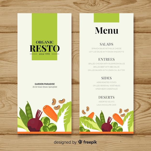 Piatto colorato cibo sano menu Vettore gratuito