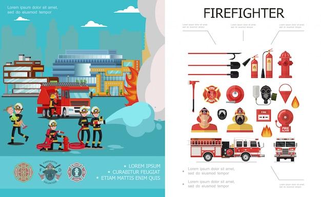 Piatto colorato composizione antincendio con vigili del fuoco estinguere vigili del fuoco allarme campana secchio ascia camion dei pompieri estintori tubo idranti pale antigas Vettore gratuito