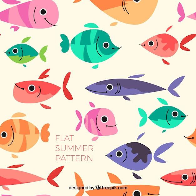 Piatto Colorato Disegno Pesci Scaricare Vettori Gratis