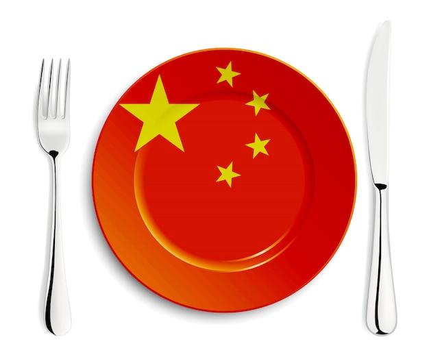 Piatto con bandiera cinese Vettore Premium
