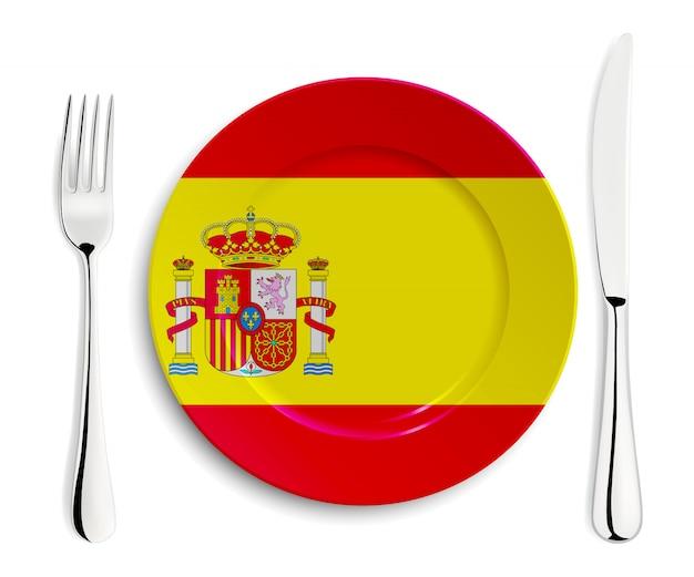 Piatto con bandiera spagnola Vettore Premium