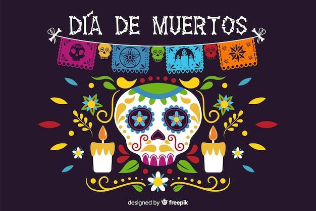 Piatto día de muertos con teschio e candele sullo sfondo Vettore gratuito