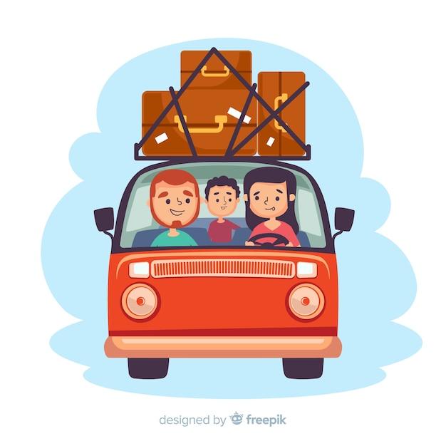Piatto famiglia felice che viaggiano sullo sfondo Vettore gratuito