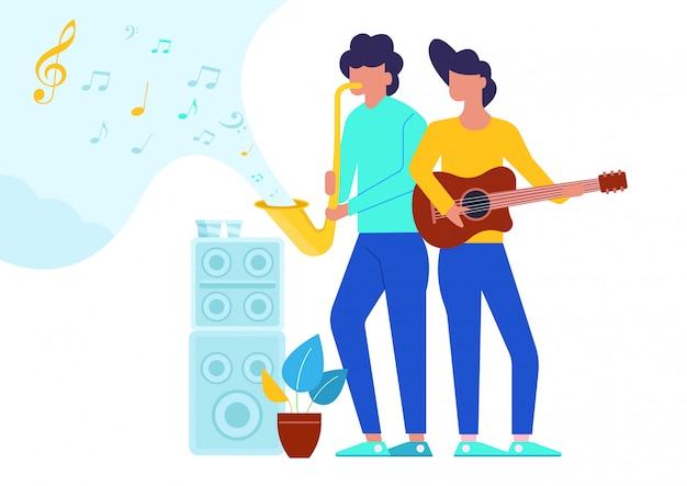 Piatto illustrazione di due uomini con strumenti musicali. Vettore Premium
