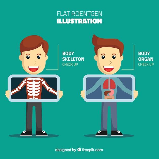 Piatto illustrazione x ray Vettore gratuito