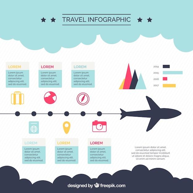Piatto infografica di viaggio con elementi piani e colori Vettore gratuito