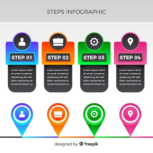 Piatto infografica numerata colorata Vettore gratuito