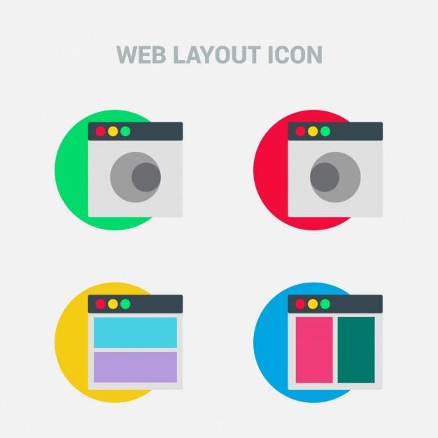 Piatto layout design template set di icone scaricare for Costruttore di layout gratuito