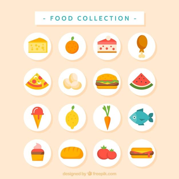 Piatto raccolta cibo gustoso e delizioso Vettore gratuito