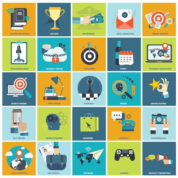 Piatto set di icone per le imprese Vettore gratuito